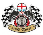 Retro CAFE RACER  Ton Up Club Design With St Georges Cross England Flag Motif For British Bike External Vinyl Sticker 90x65mm